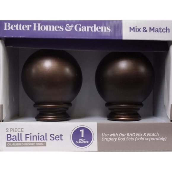 """1"""" Oil-Rubbed Bronze Finish Ball Finial Set"""